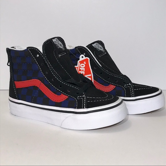 5e23f9038c87e1 New Vans Black Blue Checkerboard hightop kids 10.5